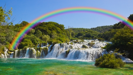 Rainbow over water cascades - rainbow, stones, rocks, colorful, waterfall, beautiful