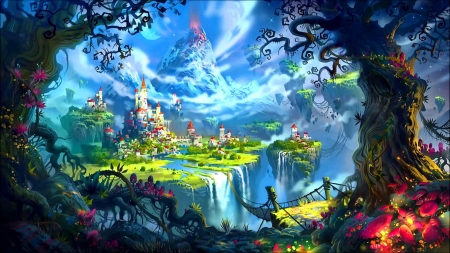 Fairytale castle - castle, view, mountain, art, fantasy, fairytale