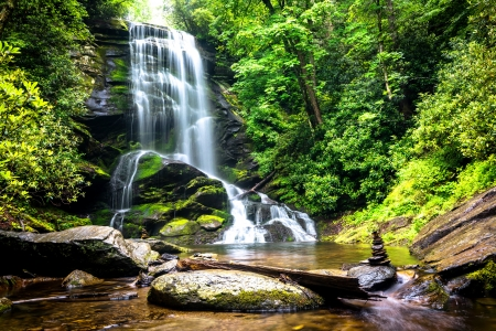 Forest waterfall - stones, greenery, rocks, forest, waterfall, beautiful