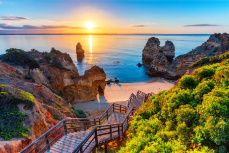 Wonderful view of Camilo beach - vacation, wonderful, sun, view, footbridge, Portugal, background, stairs, sea, beach, turquoise, paradise, summer, reflection, wooden, rocks, walkway, rest