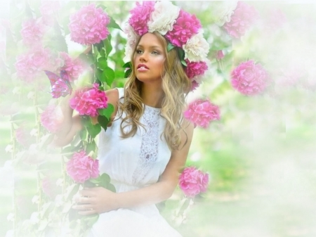 Pink and White Floral Crown - photo album, etheral women, flower crown wreath, Hidden Kiss Behind Every Smile, women are specialfemale trendsetters, grandma gingerbread, women are special, female trendsetters