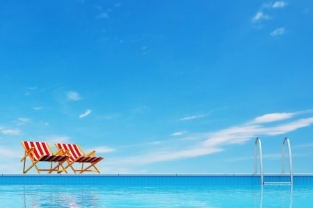 Swimming pool with beach chairs - Sunlight, Sky, Chairs, Vacation, Relaxing