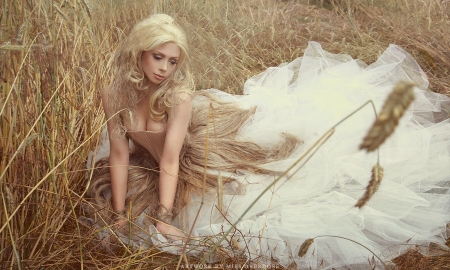 Model in The Hay - feminine, blonde, White, beautiful, Fashion model, outdoors, lovely, Hay field, Lovely, gown