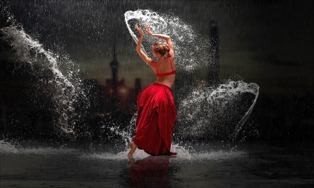 Dancing in The Rain - red, Dancer, raon, feminine, enchantimg, lady, women, Night, lovely