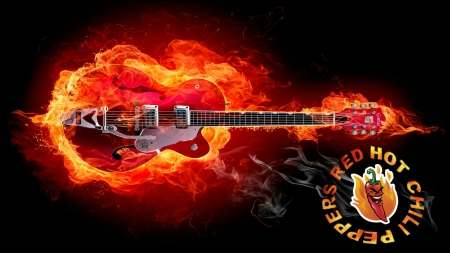 Red Hot Chili Pepper Guitar - Bridge, Strings, Peppers, Hot, Guitar, Red Flames, Red, Fire, Music, Group