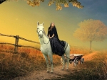 Girl on white horse