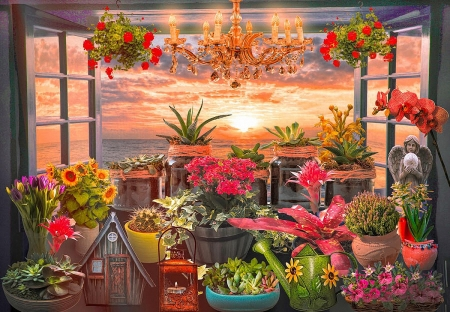 Seaside Garden in a Window - manipulation, plants, digital, flowers, sunset, clouds, sky, sea
