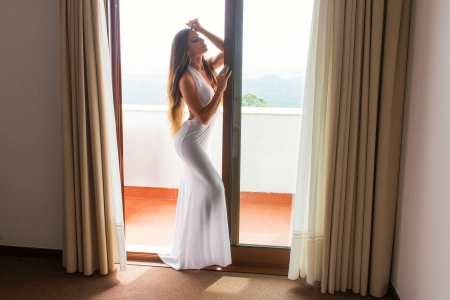 Elegant Lady - brunette, dress, window, model