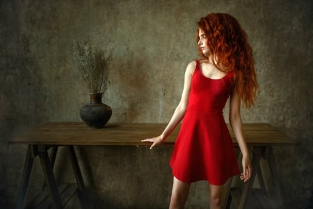 Red Head in a Red Dress - red, dress, redhead, model