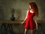 Red Head in a Red Dress