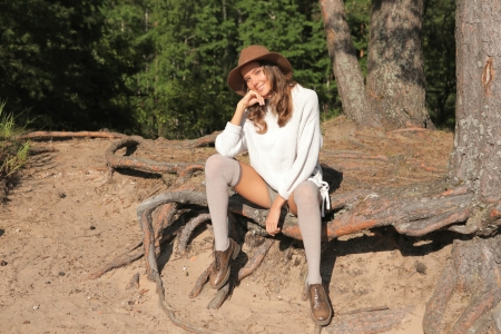 Cowgirl ~ Katya Clover - socks, model, cowgirl, outdoors, smile