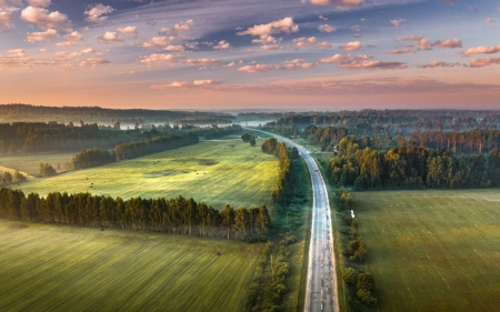 Road at Sunrise - Latvia, sunrise, fields, road