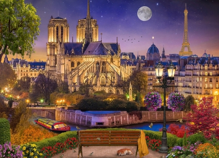 Notre Dame Night - city, moon, france, eiffel tower, houses, paris, church, artwork, digital