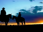 Cowboys Meeting at Sunrise on the Range