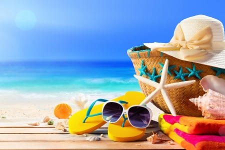 Have an amazing summer! - hat, beach, sunglasses, flip-flop, bag, starfish
