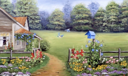 Spring Garden - forest, rural, scenic, home, flower beds, birds, Spring, House