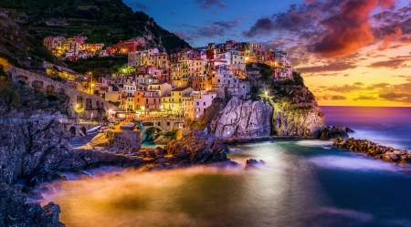 Sunset over Cinque Terre, Manarola - tuscany, italy, sky, clouds, lights, sea