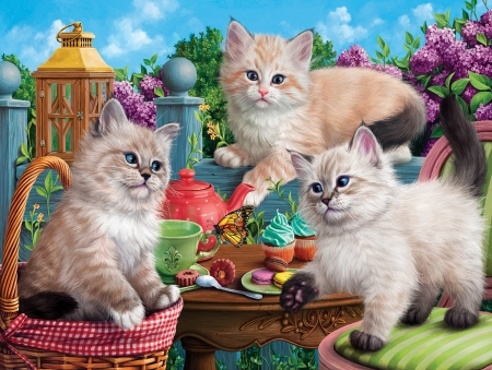 Kitten Tea Party - lilacs, butterfly, cats, basket, painting, cakes