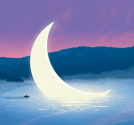 The sky is falling - blue, giant, stars, luna, luminos, vara, moon, matt saunders, boat, fantasy, summer, pink, night