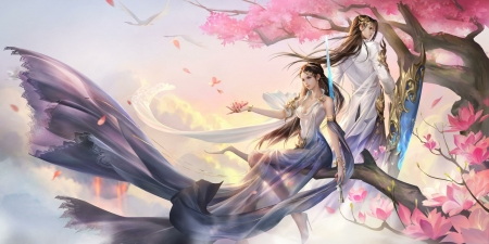 Fantasy couple - fantasy, tree, girl, luminos, yang ningyuan, man, pink, couple