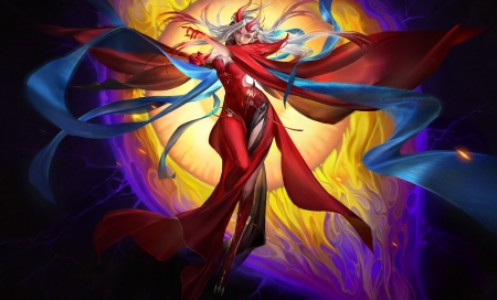 Demoness - red, frumusete, fantasy, demon, yang ningyuan, yellow, sorceress, blue, luminos