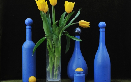 still life - still life, flowers, tulips, bottle