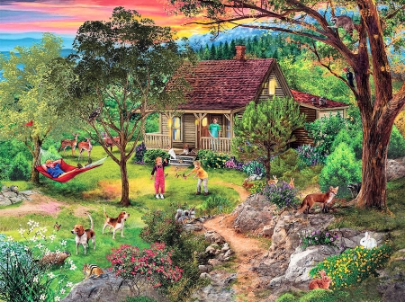 Vacation Mountain - dogs, deer, children, cabin, sunset, trees, artwork, fox, parents, painting, rabbits, flowers