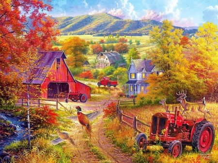 Down The Country Road - tractor, pheasant, cottage, car, barn, landscape, deer, hills, artwork, painting