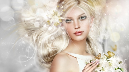 fantasy girl - fantasy, girl, butterfly, art, blonde, white
