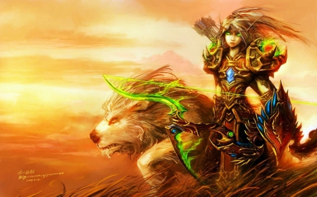 Elf hunter - art, girl, mystic, mythical animal, painting
