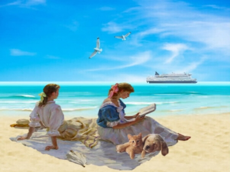 Afternoon on the beach - beach, ship, birds, cat, sky, dog, women, sea