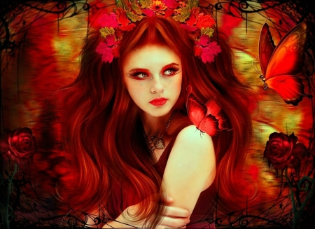 Lady In Red - Red Hair, Butterfly, Beautiful, Rose, Woman, Flowers, Necklace