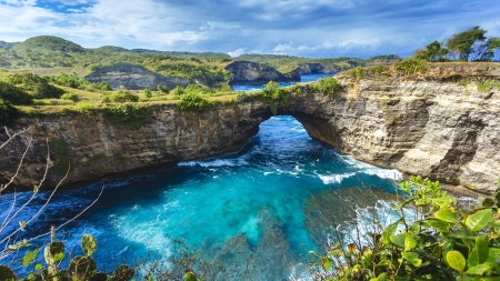 Natural Bridge in Bali - water, nature, bridge, bali