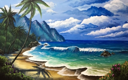 Out to Sea - sand, mountains, painting, waves, sea, palm trees, art, clouds, beach, flowers