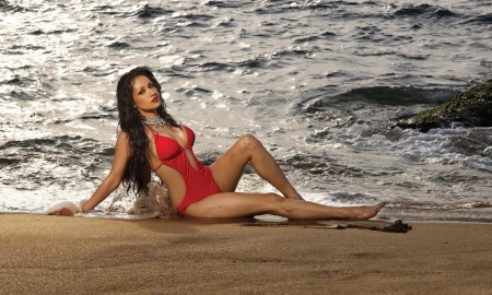 Madhuri Bhattacharya  - brunette, swimsuit, Red, model, ocean, Model, waves, sexy
