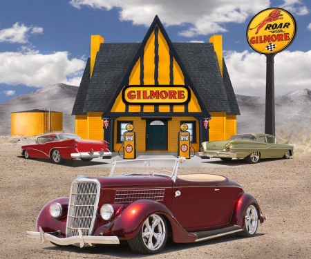 35 Ford Roadster at the Gilmore Station - customised, gas station, hot rod, car, collage