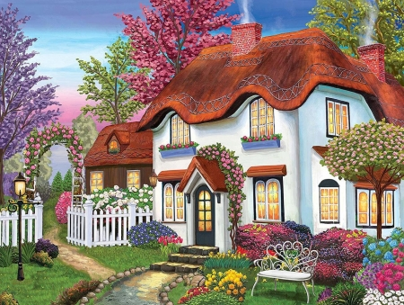 Cosy Cottage - garden, flowers, colours, cottage, painting