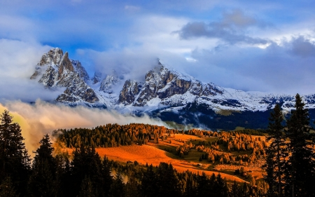 Castelrotto, Italy - peaks, dolomites, sunset, magic, trees, clouds, sky