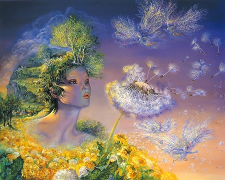 mother nature - fairies, flowers, trees, dandelions, panting