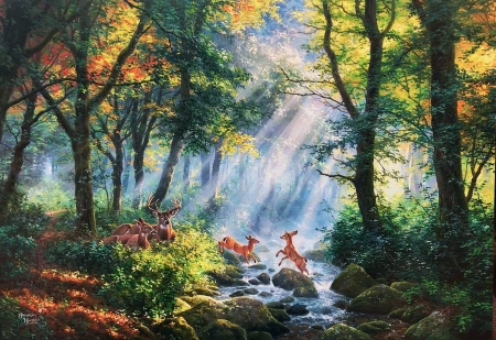 Deer Family - trees, forest, fawn, sunlight, painting, creek, artwork