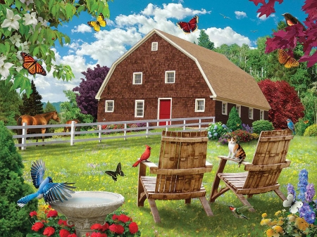 Countryside Comfort - fence, chairs, birds, butterflies, trees, horse, artwork, barn, digital