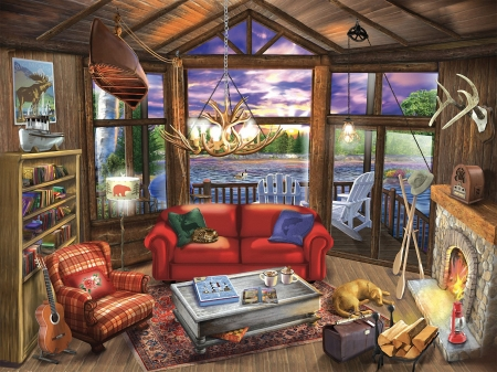 Evening at the lake - room, sofa, chimney, dog, table, lamp, books, armchair, artwork, windows, boat, guitar