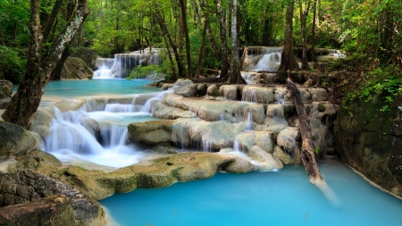 Tropical Forest Waterfall - rocks, forest, waterfall, natue