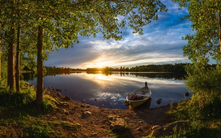 River Oulujoki in Finland - sunset, boat, river, Finland, trees