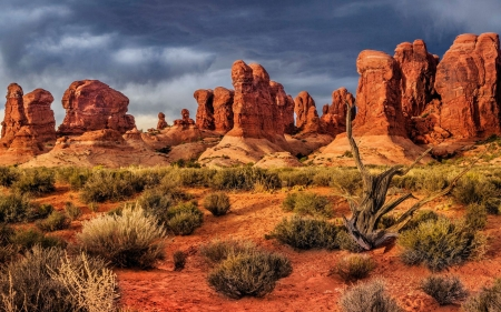 National Park Arches, Moab, Utah - rocks, desert, clouds, sky, usa