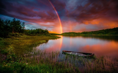 Sunset Rainbow - boat, river, clouds, sky, trees