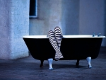 Striped Socks in a Bath