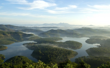 Islands in Dalat, Vietnam - islands, panorama, landscape, Vietnam