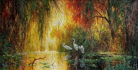 Wetland Sunset - cranes, trees, pond, painting, waterlilies, artwork