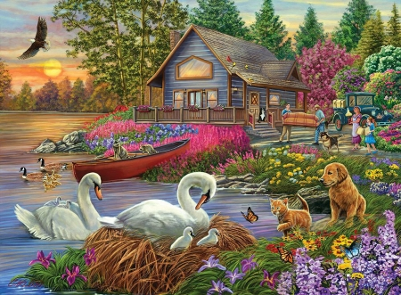 Settling In - raccoons, eagle, ducks, cabin, butterflies, trees, cat, artwork, swans, lake, boat, car, people, flowers, sofa, dog, painting